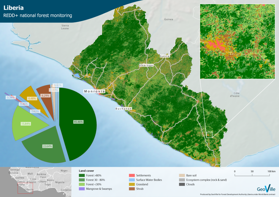 REDD+ Forest and Plantation Mapping in Liberia